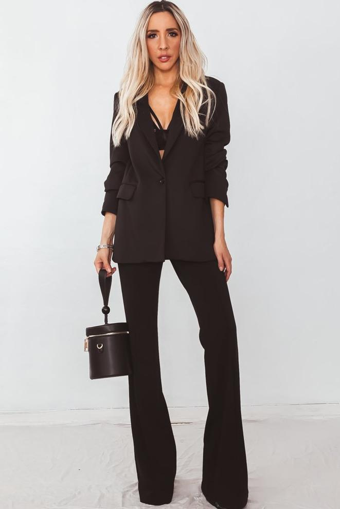 High Waist Crepe Trousers  - Black