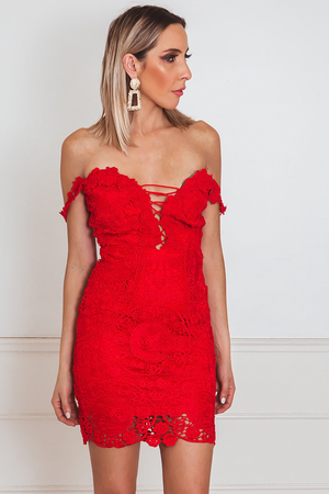 Lace Mini Dress with Lace-Up Front - Red