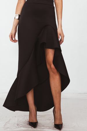 Ruffle Maxi Skirt with Asymmetric Hem