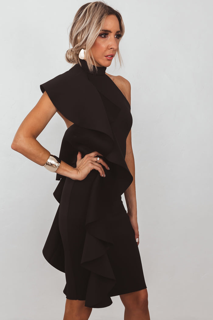 Avant-garde Ruffle Mini Dress