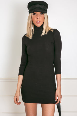 Ribbed Turtleneck Midi Dress - Black