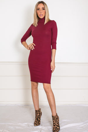 Ribbed Turtle Neck Midi Dress - Maroon /// Only 1-M Left ///
