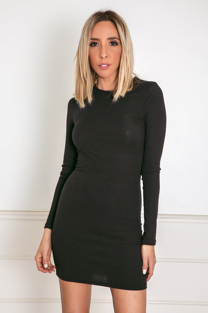 Long Sleeve Ribbed Mini Dress - Black