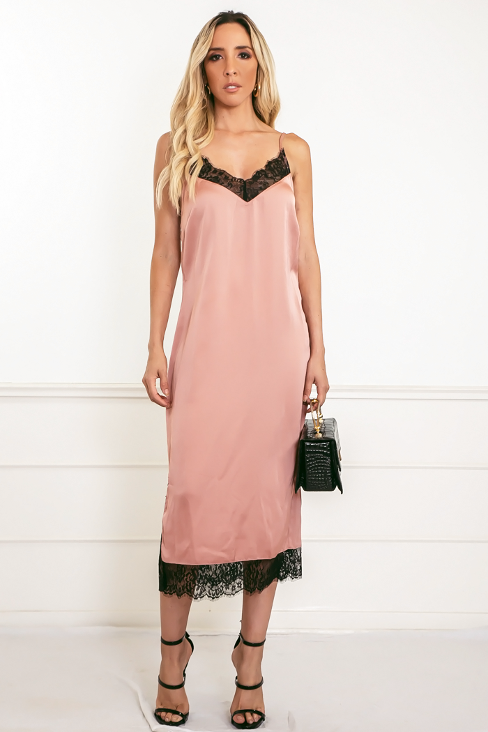 Satin Midi Dress with Lace Trim - Mauve