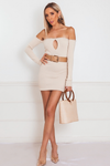 Off Shoulder Ribbed Dress with Keyhole Detail