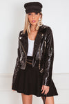 Patent Leather Jacket with Gold Hardware