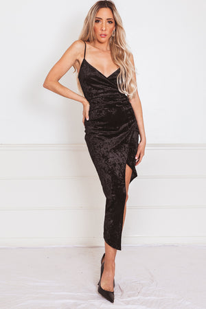 Velvet Dress with Asymmetric Hem