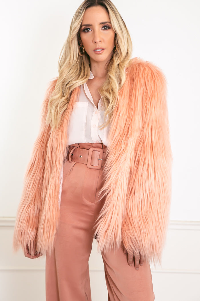 Long Hair Faux Fur Jacket - Mauve