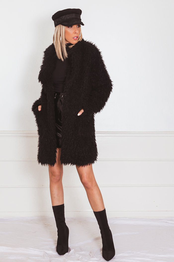 Textured Fur Coat - Black