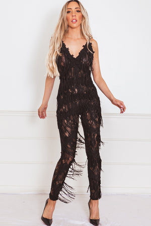Lace Jumpsuit with Fringe