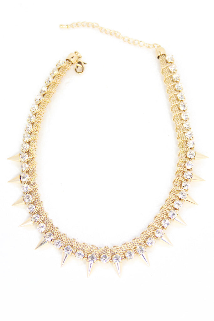 SPIKES & CRYSTALS NECKLACE - Gold