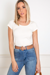 Crew-neck Stretch T-shirt - Ivory
