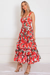 Roses Ruffle Midi Dress