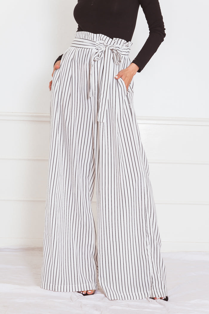 Striped Palazzo Pant with Tie Waist