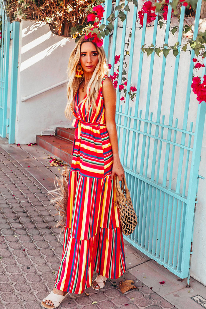 Multi Colored Striped Maxi Dress