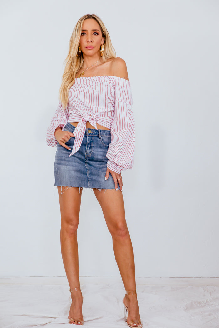 Off-Shoulder Striped Long Sleeve Top