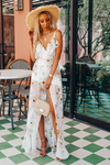 Floral Wrap Maxi Dress with Ruffle - Ivory