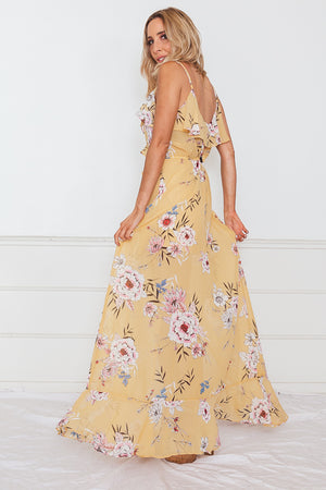 Floral Wrap Maxi Dress with Ruffle - Yellow