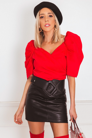 Ruffle Cap-Sleeve Top - Red