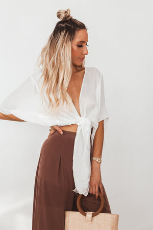 Washed Satin Wrap Top - White