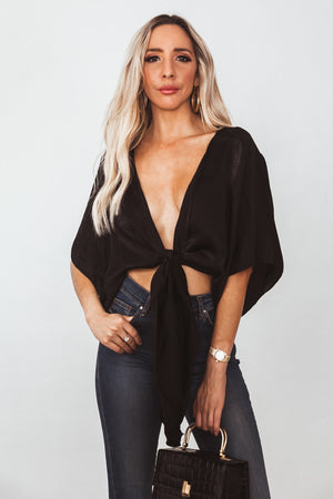 Washed Satin Wrap Top - Black