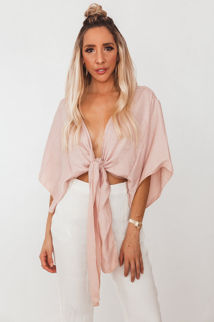 Washed Satin Wrap Top - Blush