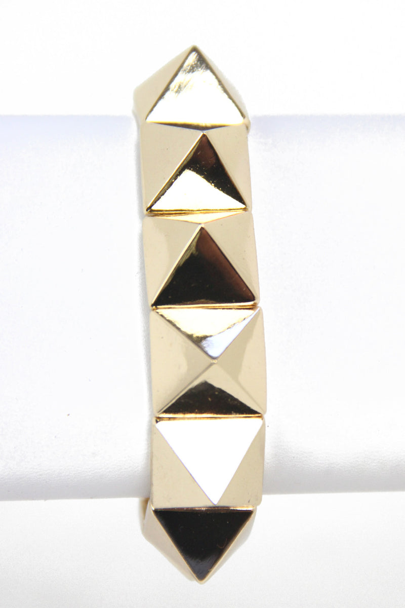 PYRAMID SPIKE BRACELET - Gold - Haute & Rebellious