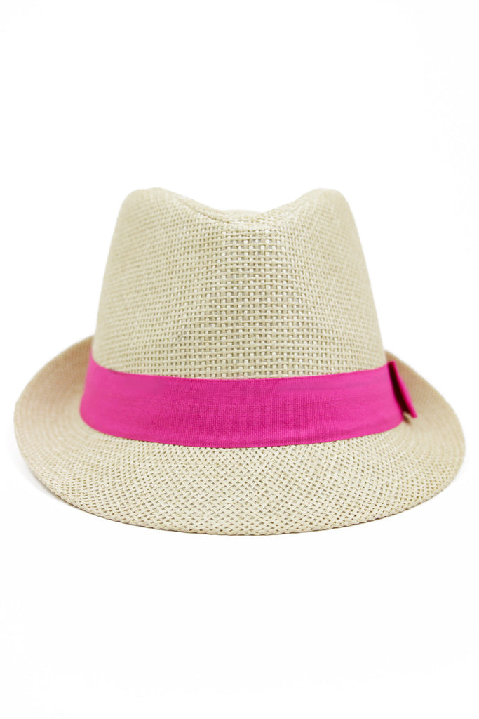 STRAW FEDORA HAT WITH COLORED BAND - Pink