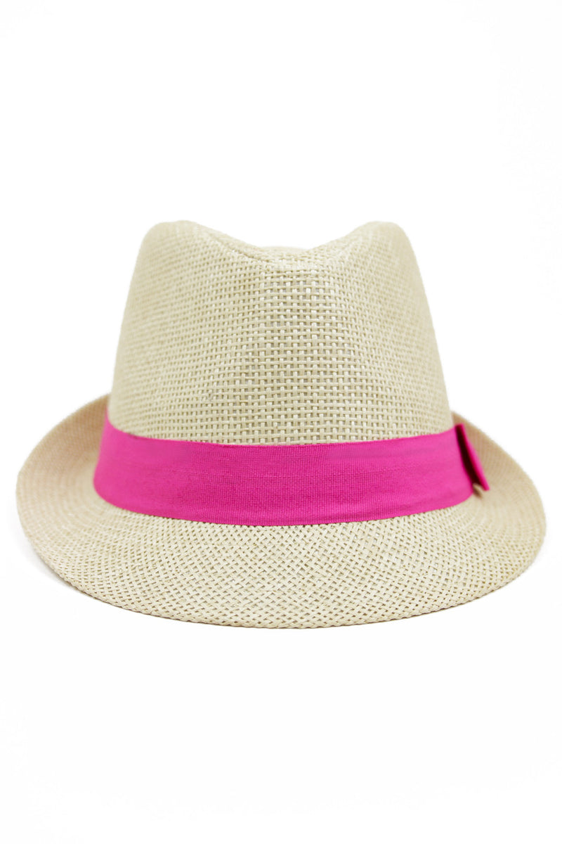 STRAW FEDORA HAT WITH COLORED BAND - Pink - Haute & Rebellious