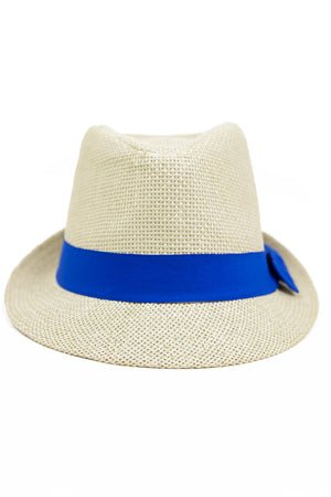 STRAW FEDORA HAT WITH COLORED BAND - Blue - Haute & Rebellious