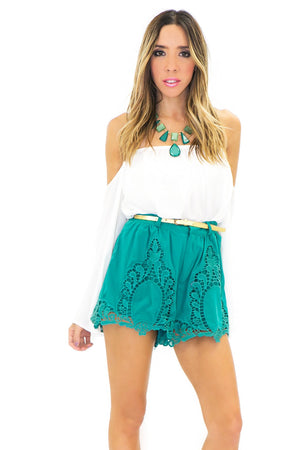 CATHERINE CROCHET DETAIL SHORTS - Green - Haute & Rebellious