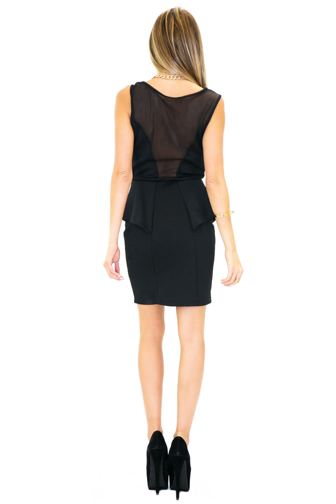 BRIT PEPLUM & MESH DRESS - Black - Haute & Rebellious