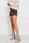 Faux Leather Shorts - Brown