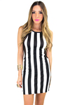 Black & White Stripe Bodycon Dress - Haute & Rebellious