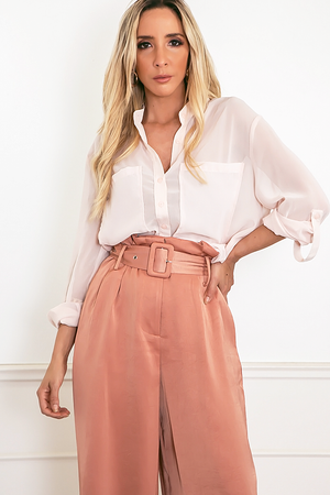 Sheer Chiffon Button-Up Shirt - Light Rose