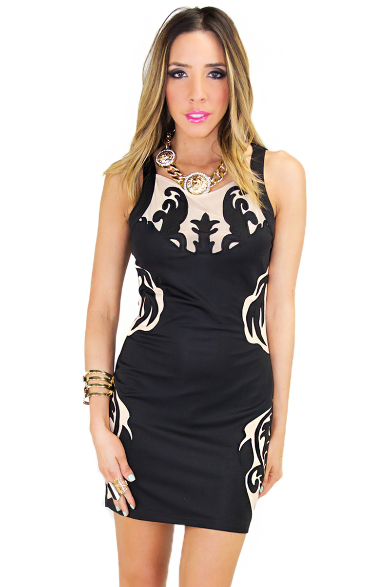 MESH & FLEUR DE LIS BODYCON DRESS - Haute & Rebellious