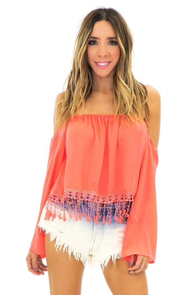 LACE FRINGE BELL SLEEVE TOP - Coral