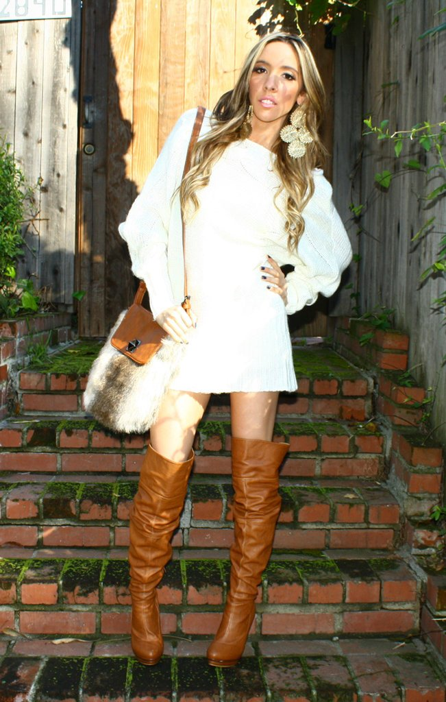 BOHO FAUX FUR BAG - Brown