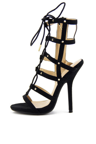 MALIA TRIANGLE ANKLE STRAP HEELS - Black