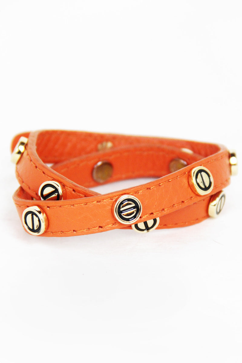 ORANGE LEATHER BRACELET - Haute & Rebellious