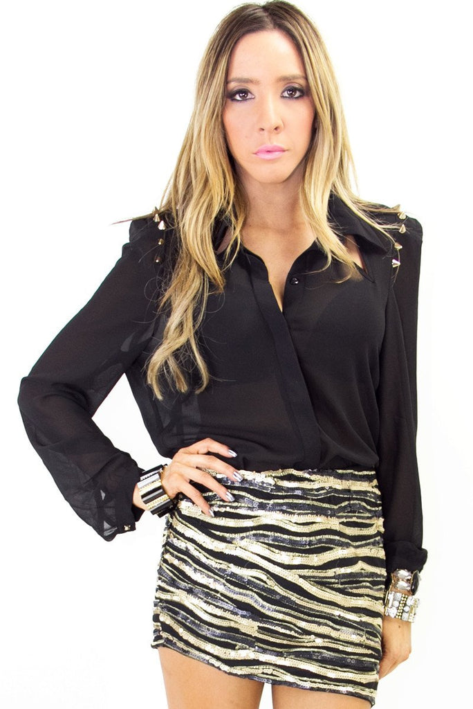 ELISA SPIKE BLOUSE - Black/Gold (Final Sale)