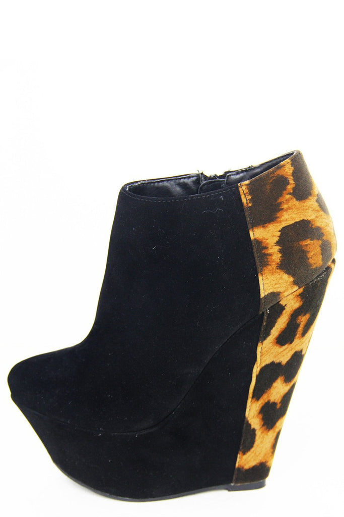 LEOPARD PRINT WEDGE - Black