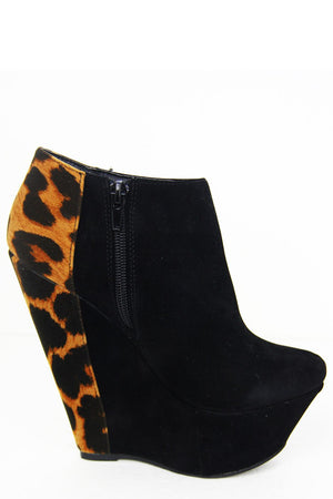 LEOPARD PRINT WEDGE - Black - Haute & Rebellious