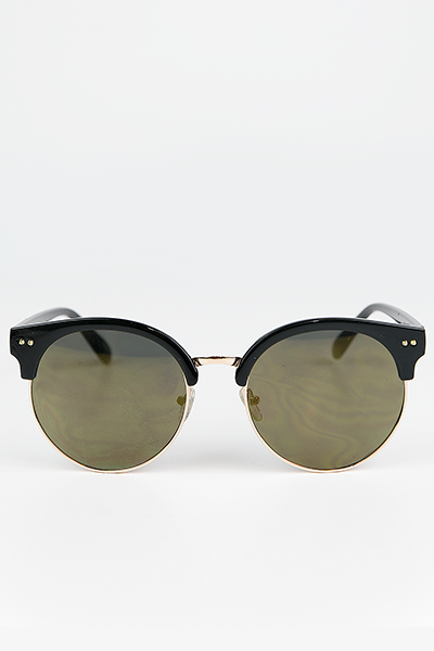 Road Ahead Reflective Sunglasses - Black/Olive - Haute & Rebellious