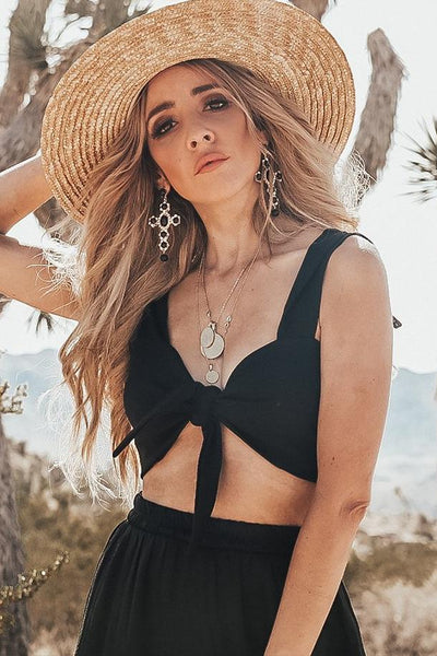 Sleeveless Crop Top with Tie Front - Black