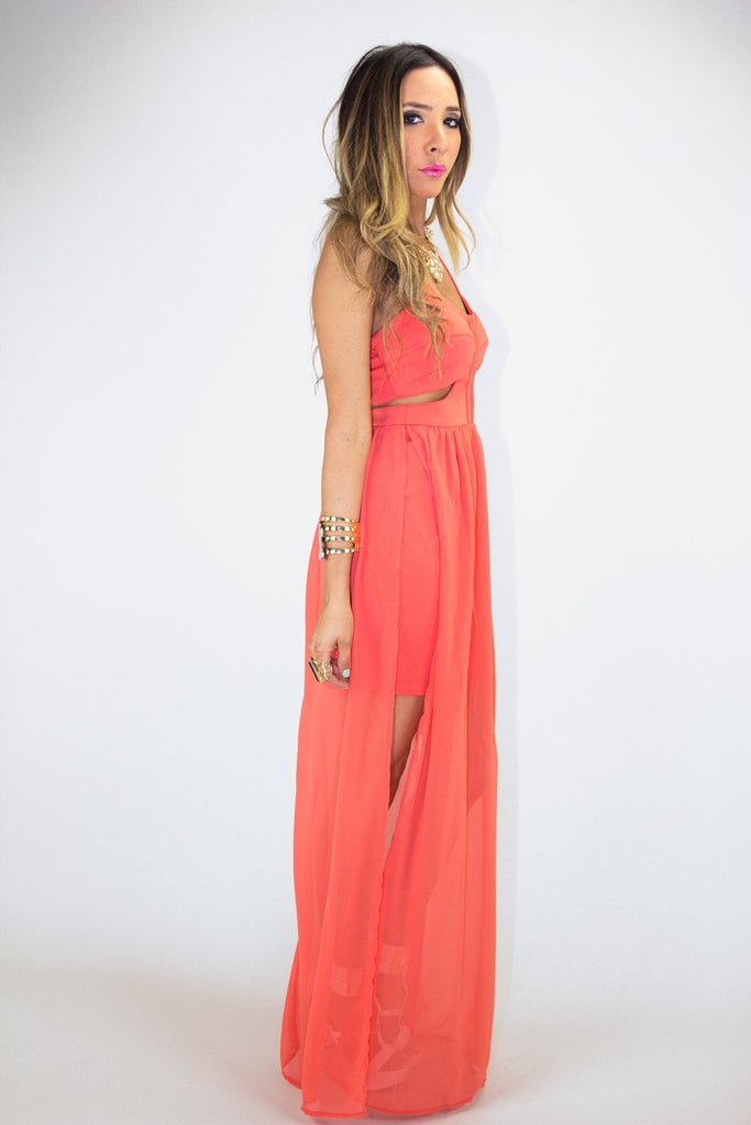 CUTOUT OPEN SKIRT MAXI - Orange