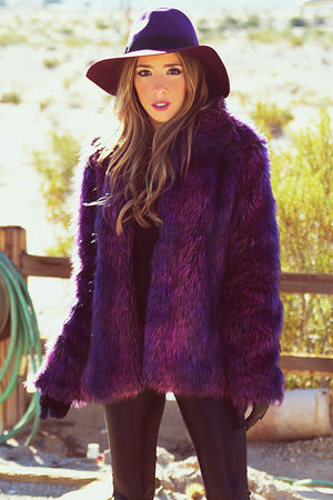 AGATHA FAUX FUR COAT - Purple - Haute & Rebellious