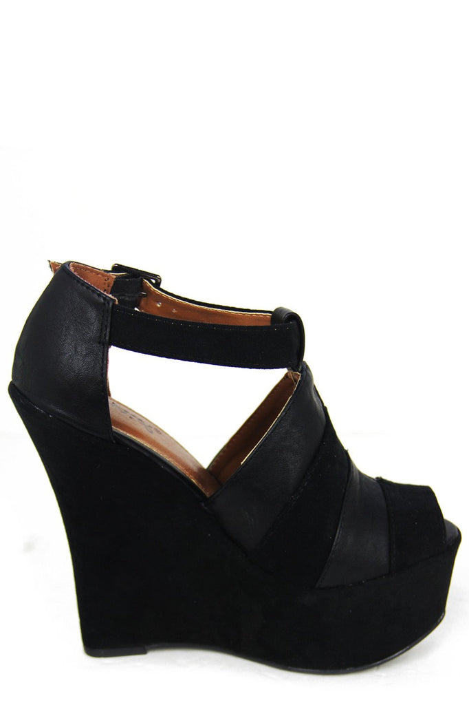 AUDREY STRAP WEDGE - Black