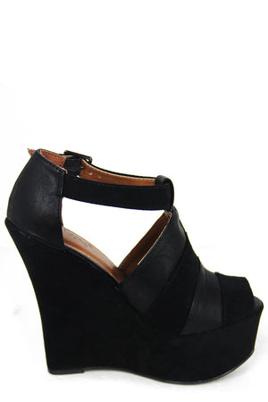 AUDREY STRAP WEDGE - Black - Haute & Rebellious