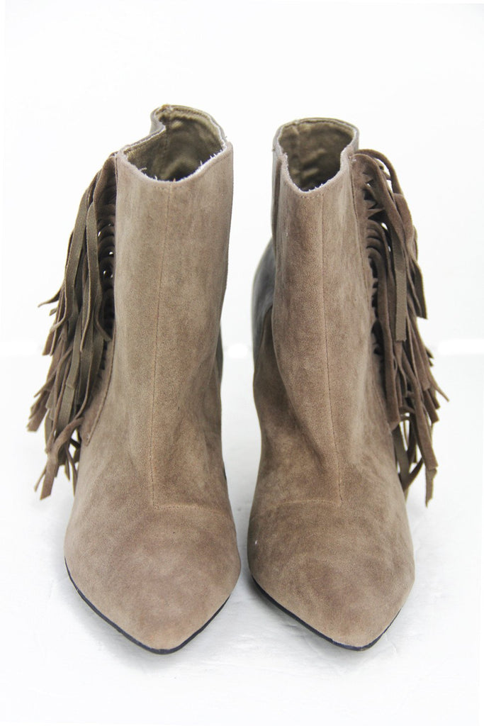 FRINGE ANKLE BOOT - Tan